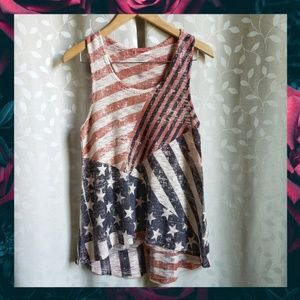 {Ginger G}American Flag Distressed Print Knit Tank
